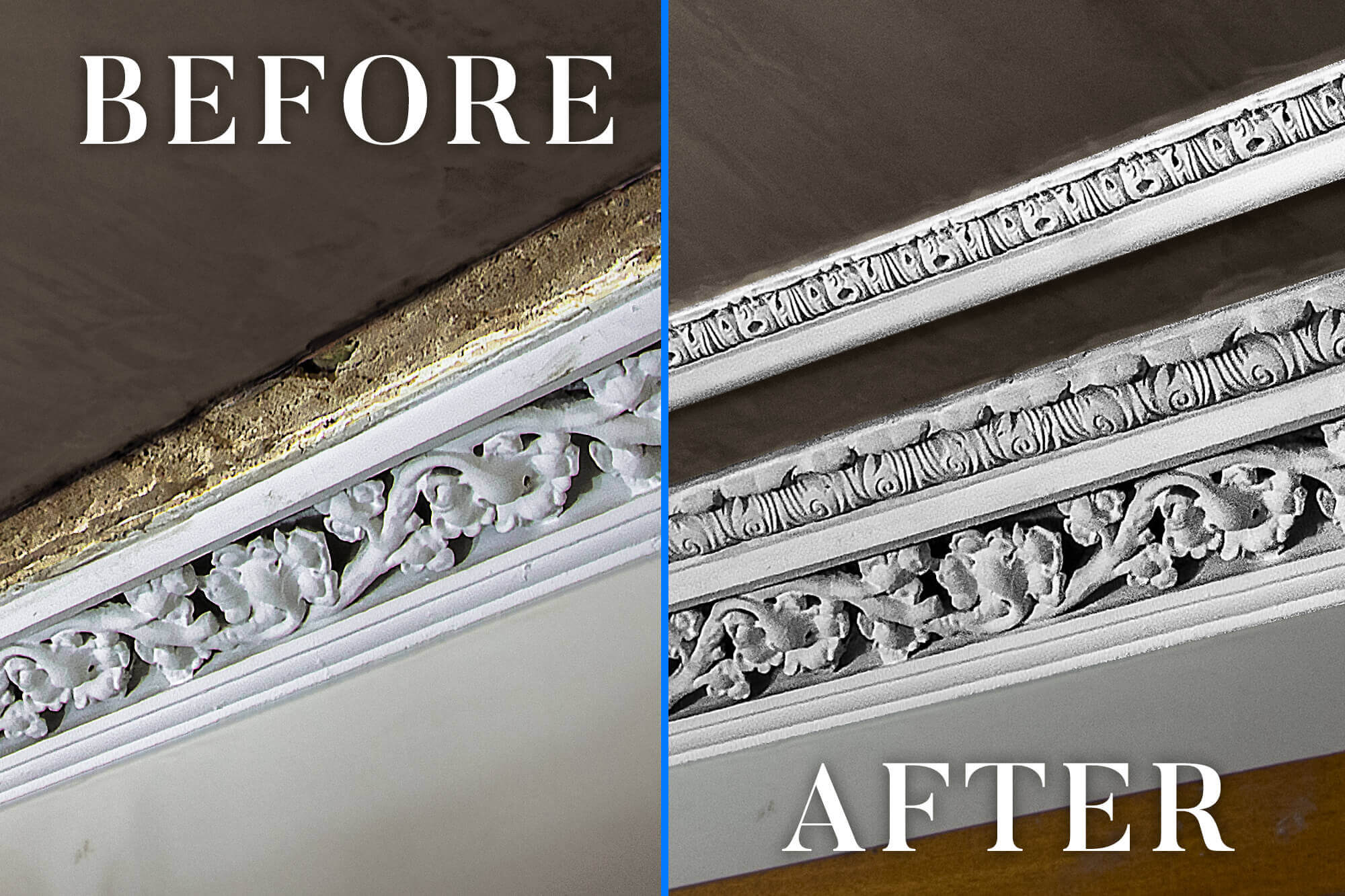 Before after image cornice repair and restoration in Lanarkshire, Scotland